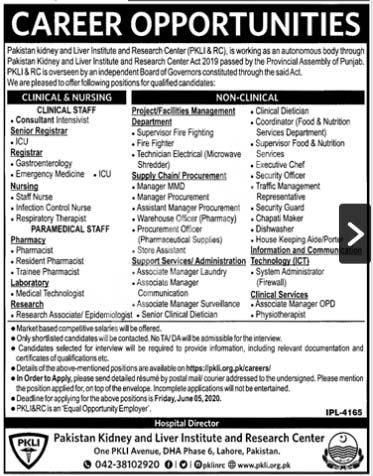 Pakistan & Liver Institute And Research Centre Pkli Lahore Jobs 2020 Latest