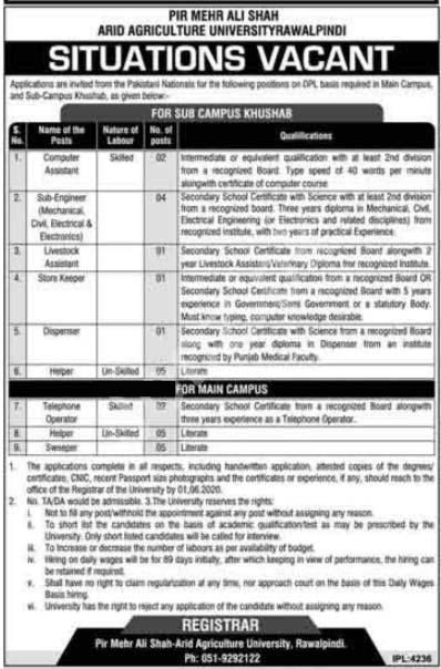 Pir Mehr Ali Shah Pmas Arid Agriculture University Rawalpindi Jobs 2020 Latest
