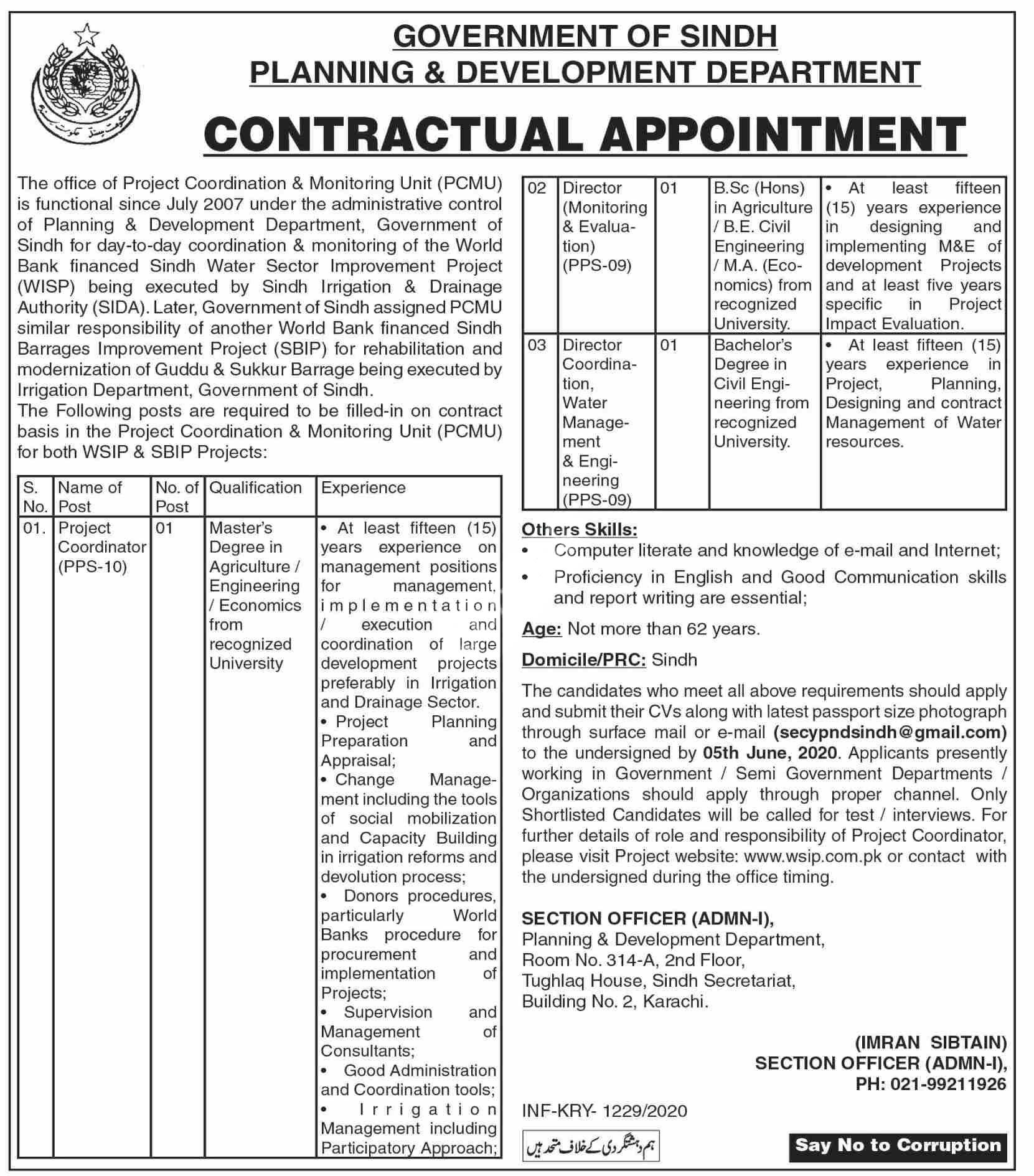 Planning And Development Department Sindh Jobs 2020 Latest