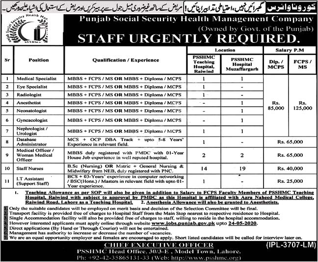 Punjab Social Security Health Management Company Psshmc Muzaffargarh Lahore Jobs 2020 Latest