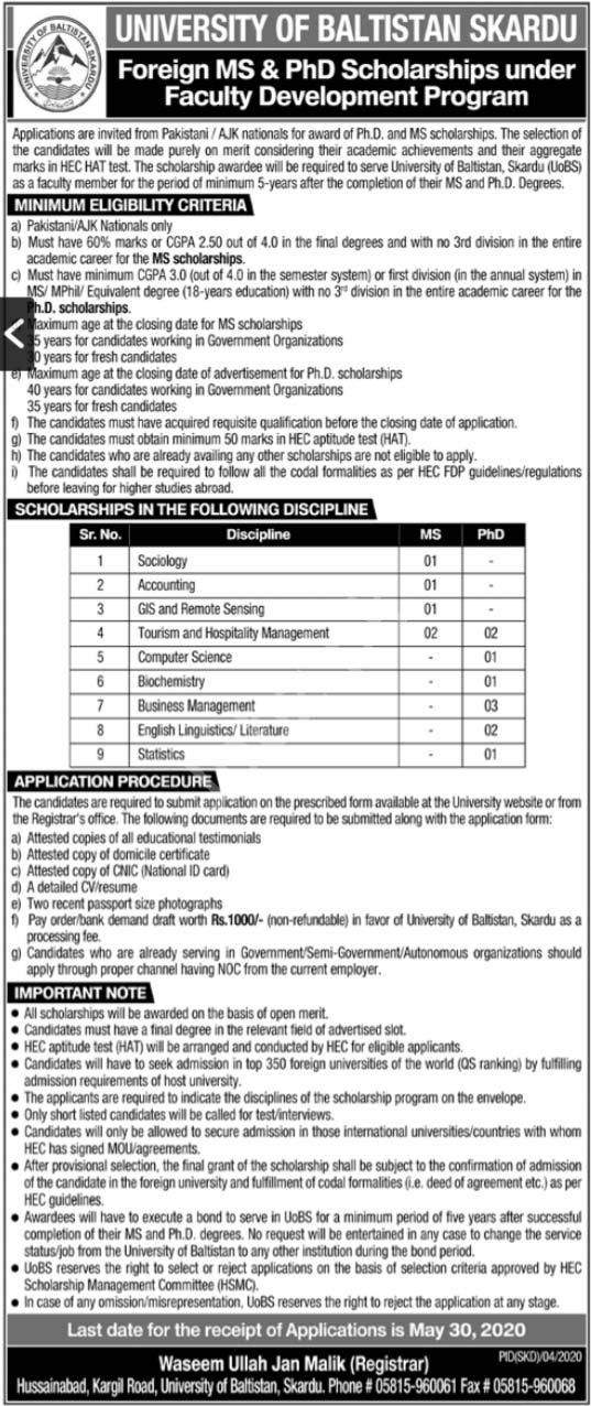 Scholarships In University Of Baltistan Skardu Ms & Phd 2020 Latest