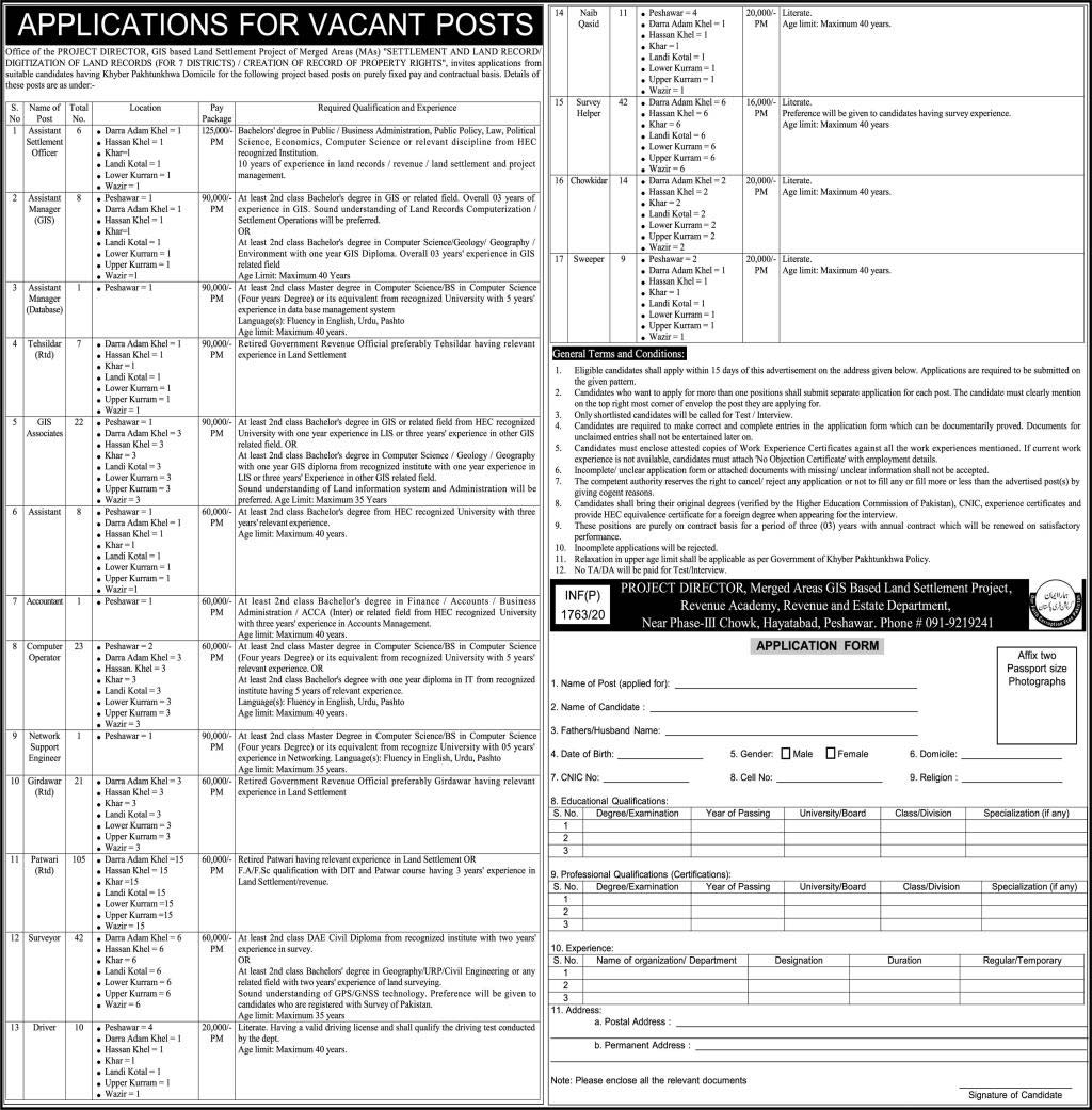 Settlement And Land Record Merged Districts Peshawar Jobs 2020 Latest