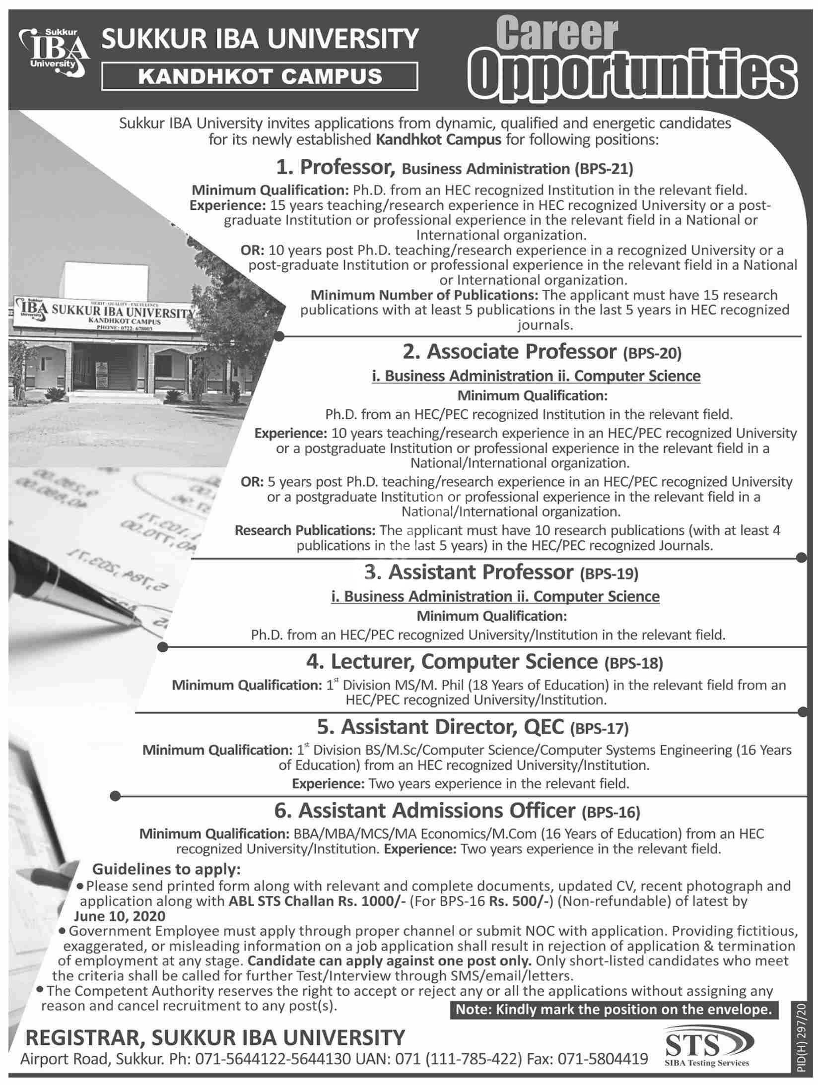 Sukkur Iba University Kandhkot Campus Jobs 2020 Latest