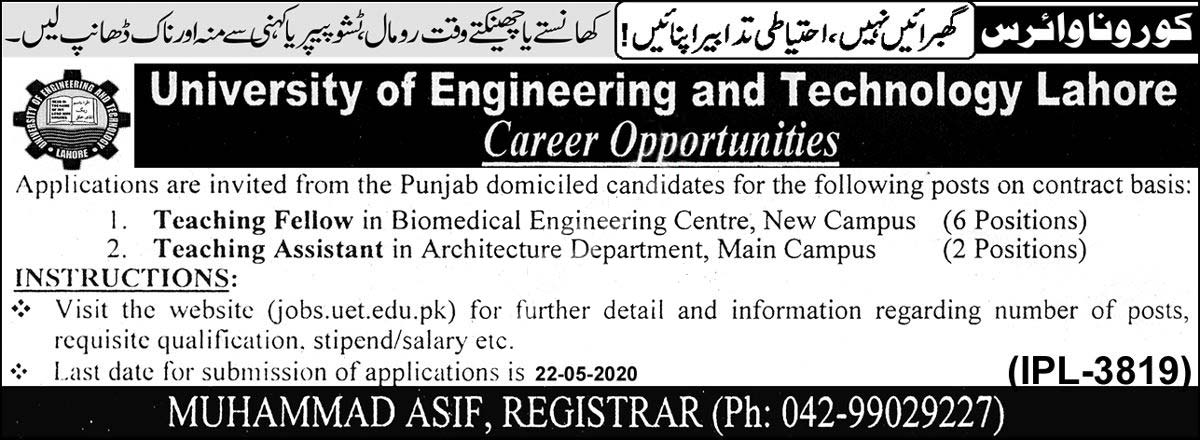University Of Engineering And Technology Uet Lahore Jobs 2020