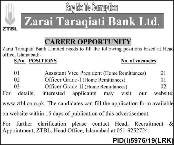 Ztbl Zarai Tarakiati Bank Limited Jobs 2020 Latest