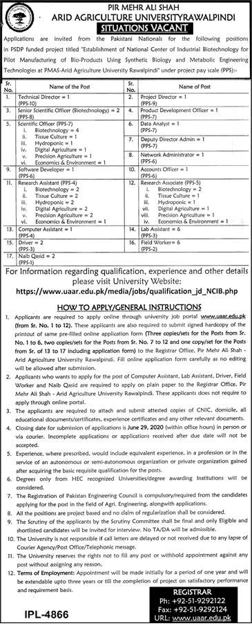 Arid Agriculture University Rawalpindi Aaur Pmas Jobs 2020