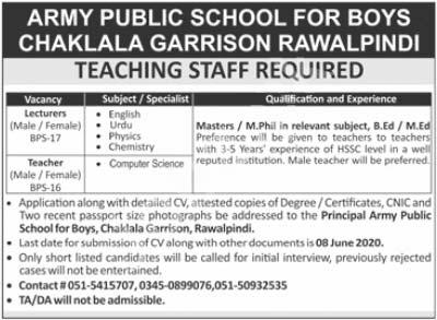 Army Public School Aps For Boys Chaklala Garrison Jobs 2020 Latest