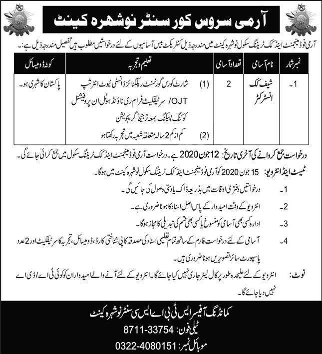 Army Service Corps Centre Nowshera Cantt Jobs 2020 Food Management And Cook Training School Latest