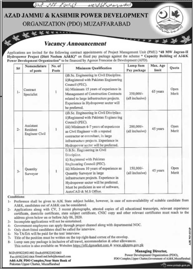 Azad Kashmir Ajk Power Development Organization Muzaffarabad Jobs 2020 Latest