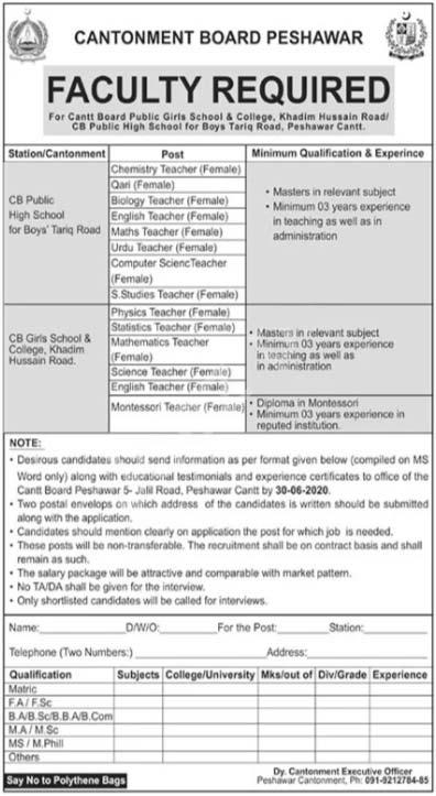Cantt Public School & College Peshawar Jobs 2020 Latest
