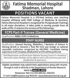 Fatima Memorial Hospital Shadman Lahore Jobs 2020 Latest Fcps Trainee & Nurse