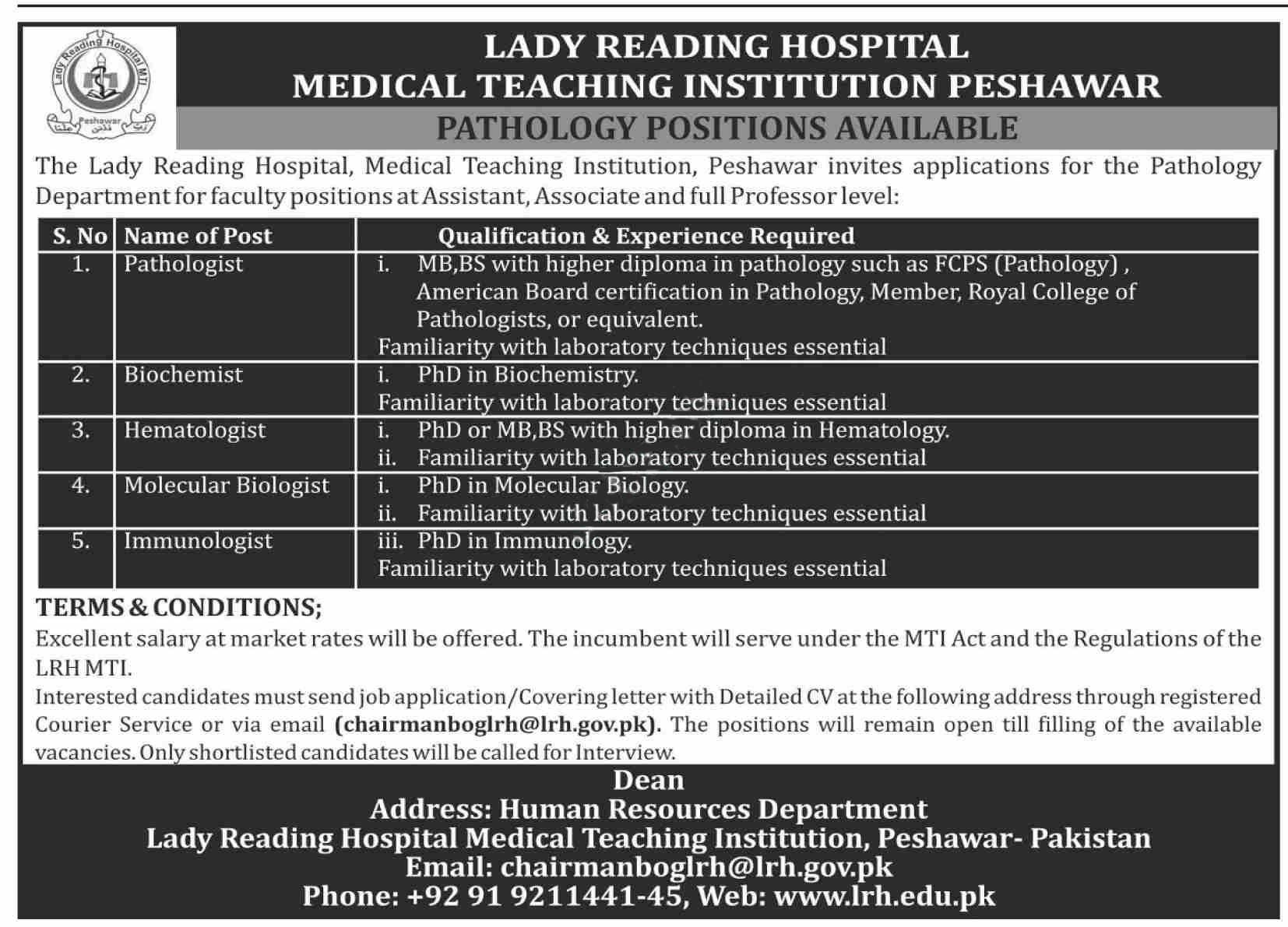 Lrh Lady Reading Hospital Mti Peshawar Jobs 2020 Latest
