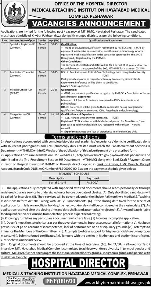 Medical & Teaching Institution Hayatabad Complex Peshawar Jobs 2020 Latest Medical Officer, Nurse & Others