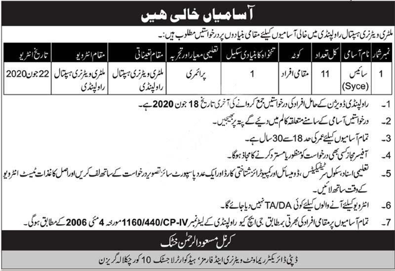 Military Veterinary Hospital Rawalpindi Jobs 2020 Latest