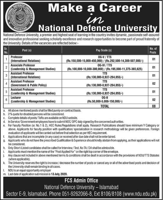 National Defence University Ndu Islamabad Jobs June 2020