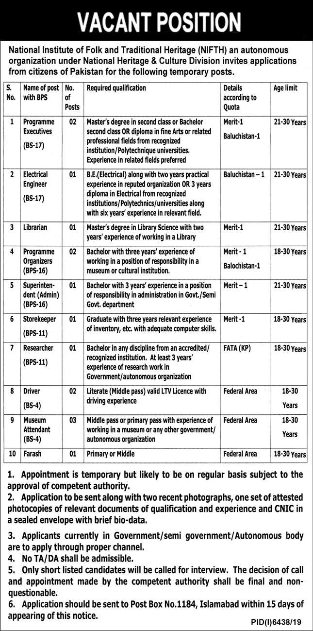 National Institute Of Fold And Traditional Heritage Nifth Jobs 2020 Latest