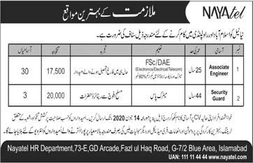 Nayatel Islamabad & Rawalpindi Jobs 2020 Latest