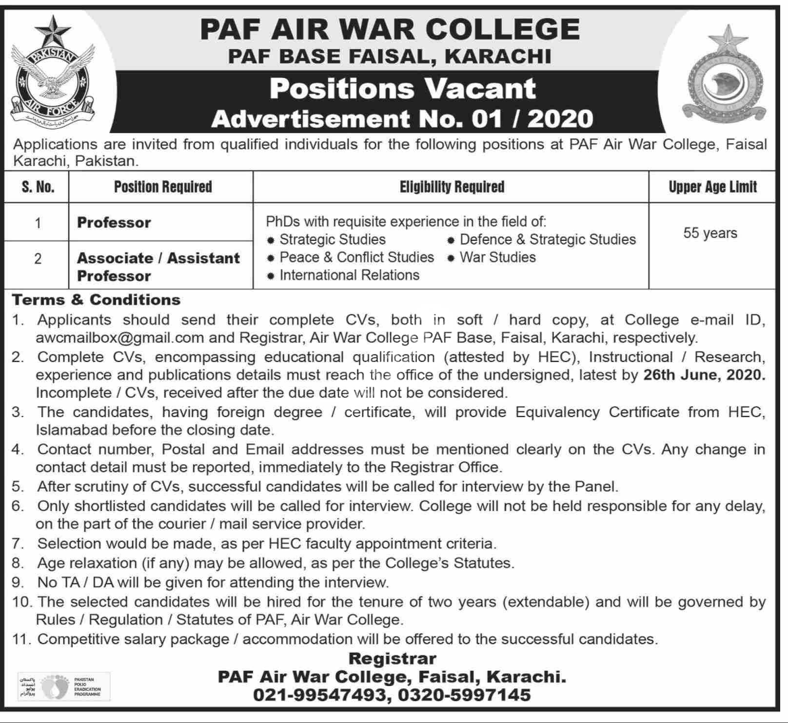 Paf Air War College Paf Base Faisal Karachi Jobs 2020 Latest