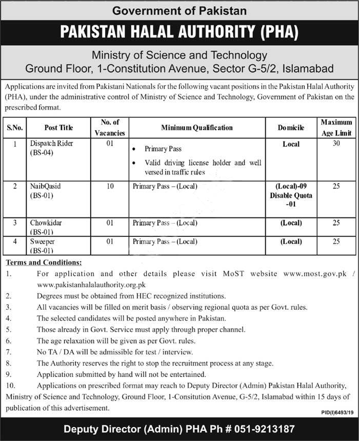 Pakistan Halal Authority Pha Islamabad Jobs 2020 Latest