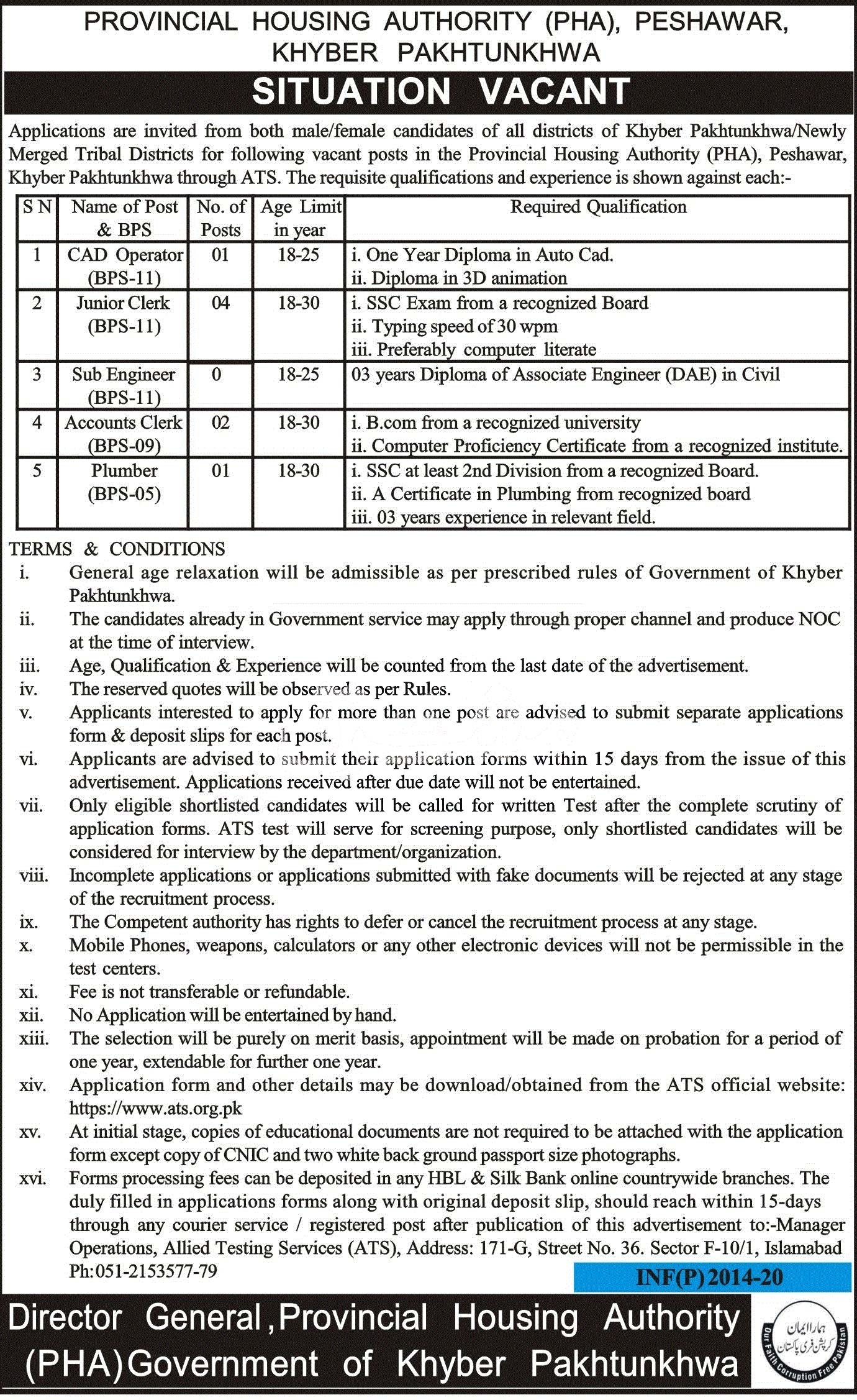 Provincial Housing Authority Ph Peshawar Jobs 2020 Latest