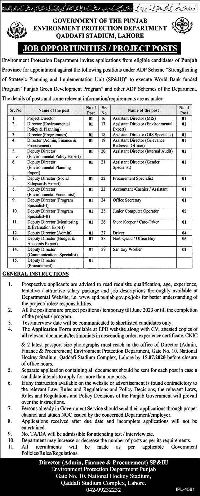 Punjab Environment Protection Department Qaddafi Stadium Lahore Jobs 2020 Latest
