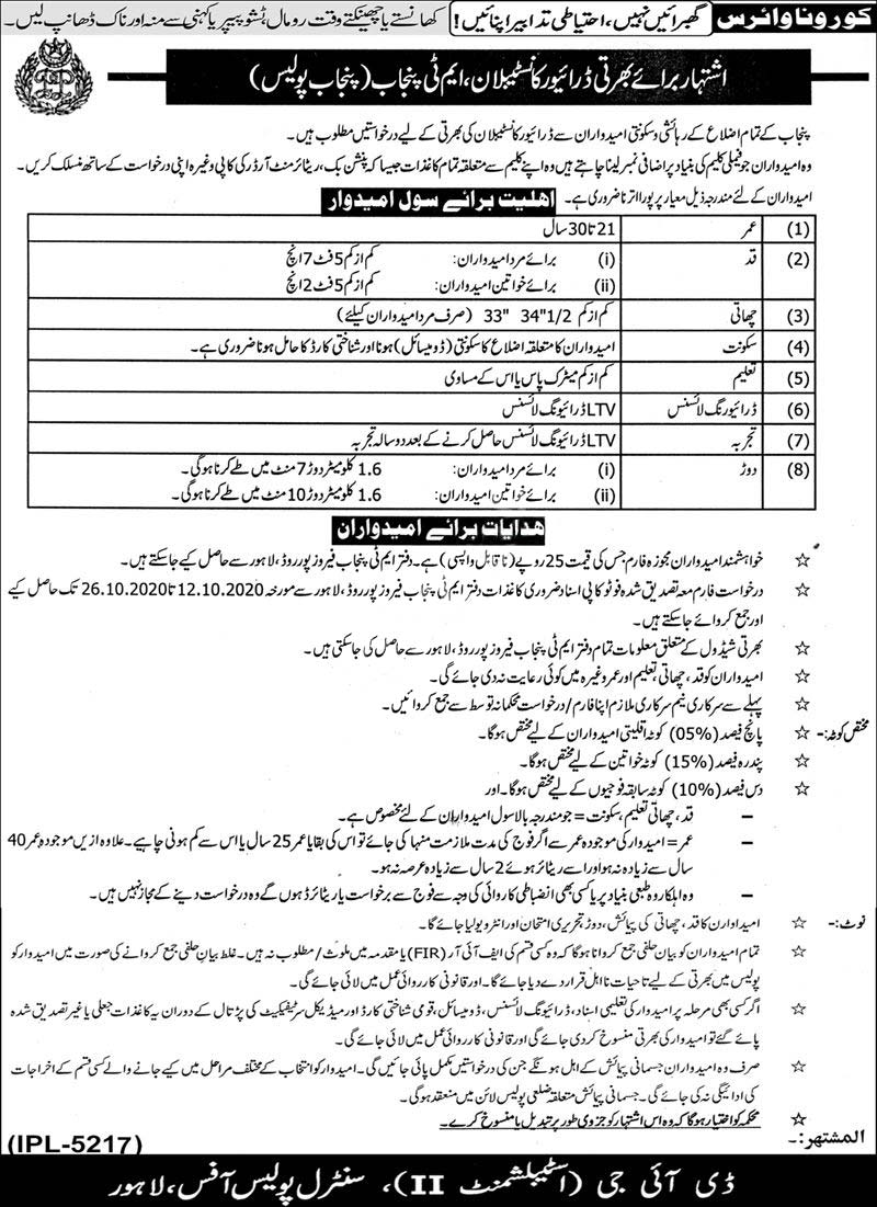 Punjab Police Driver Constable & Constable Jobs 2020 In Mt Punjab Police