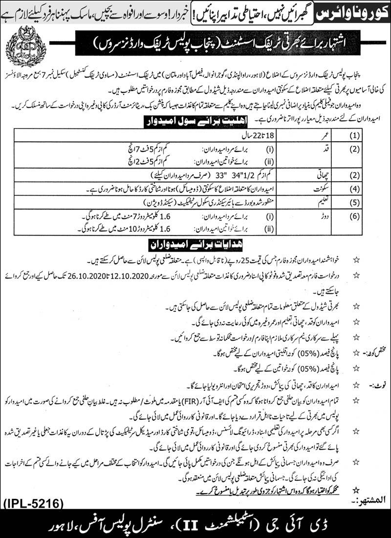 Punjab Police Traffic Wardent Servicec Jobs 2020 Traffic Assistant Latest