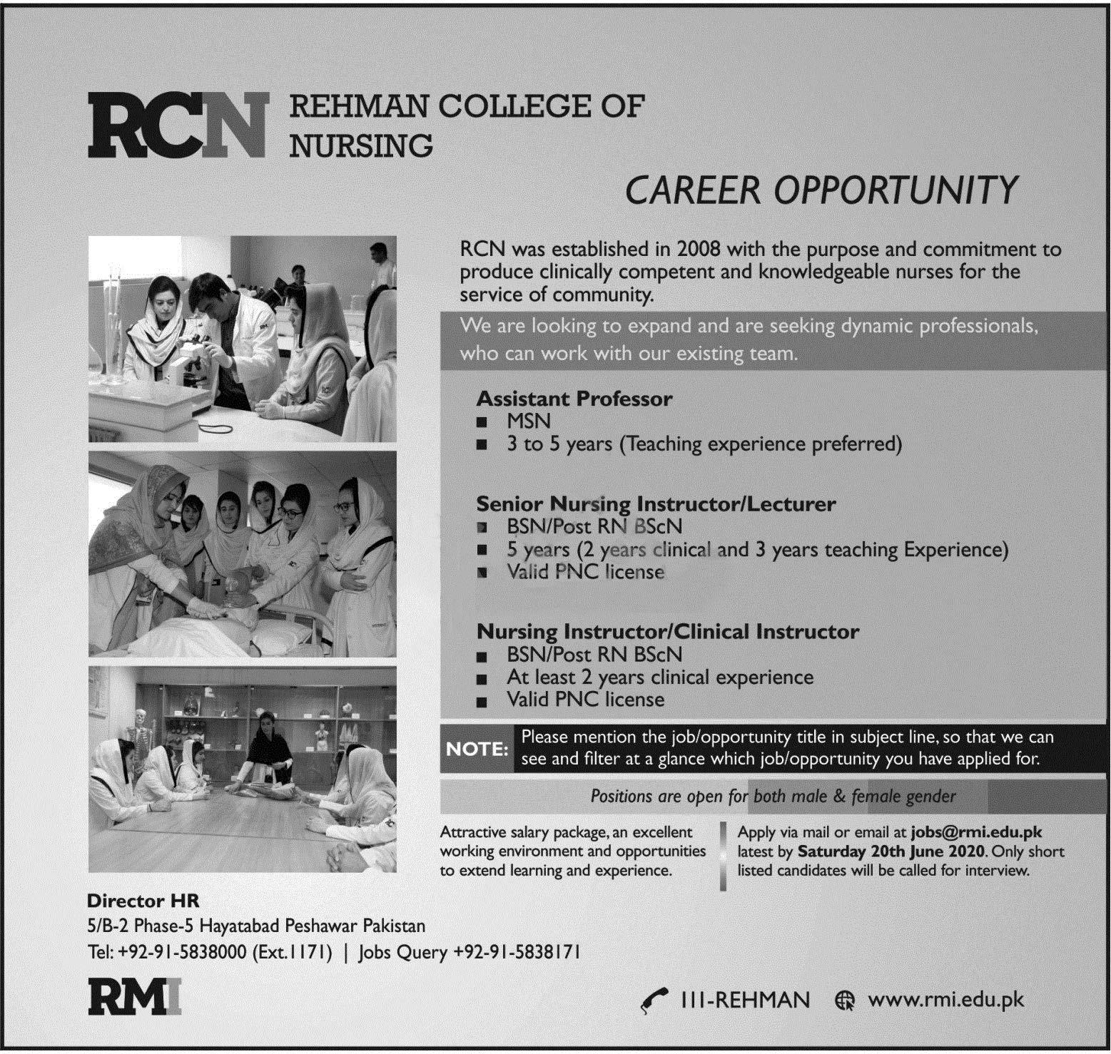 Rehman College Of Nursing Rcn Peshawar Jobs 2020 Latest