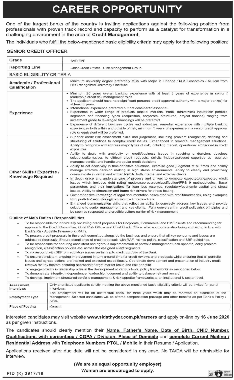 Senior Credit Officer Jobs In Sidat Hyder Morshed Associates Pvt Ltd Karachi 2020
