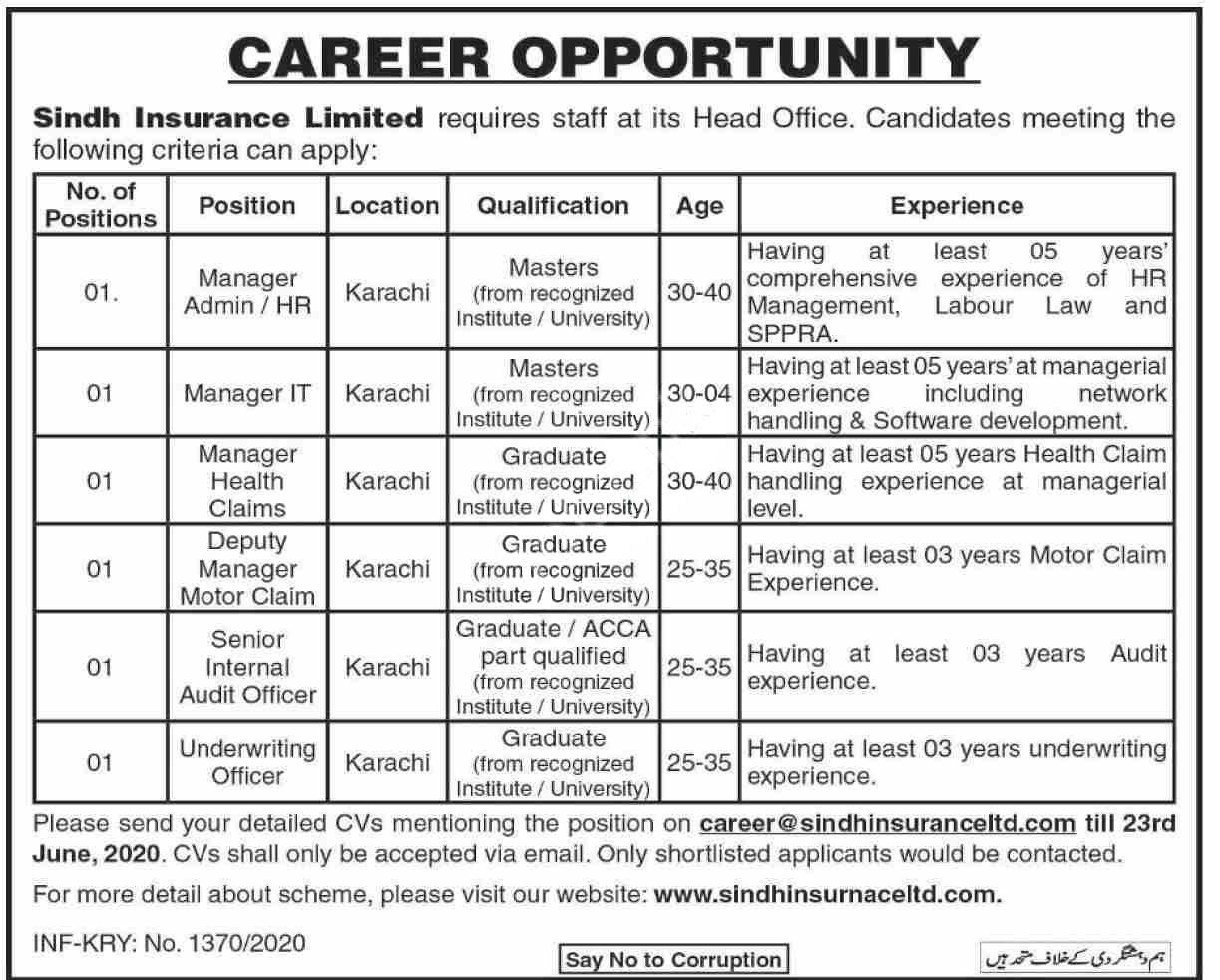 Sindh Insurance Limited Sil Karachi Jobs 2020 Latest
