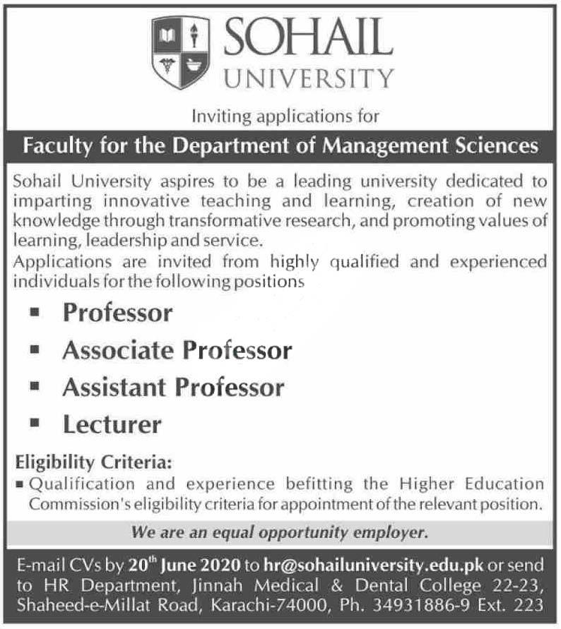 Sohail University Karachi Jobs 2020 Latest