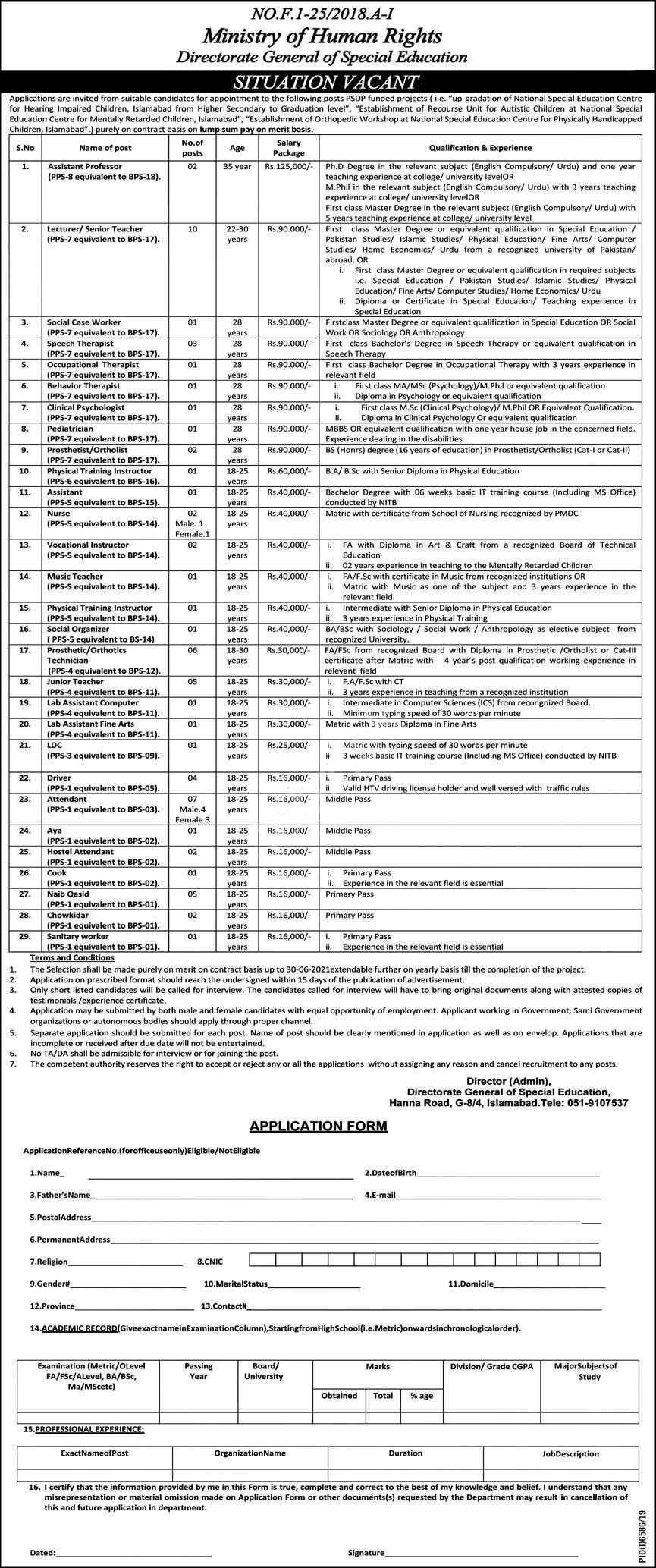 Special Education Department Islamabad Jobs 2020 Ministry Of Human Rights Latest