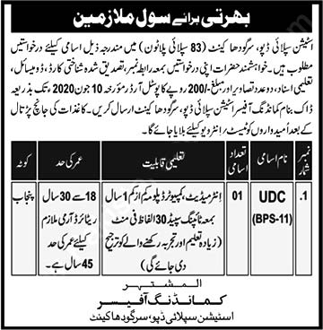 Station Supply Depot Sargodha Jobs 2020 Pak Army Latest