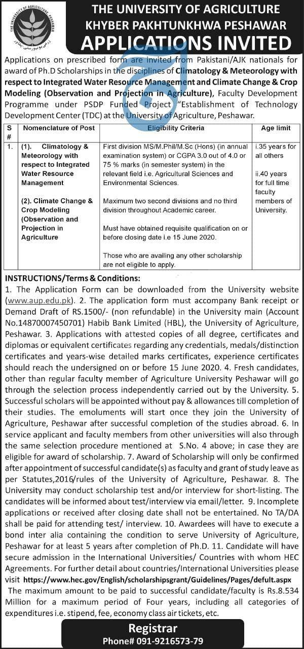 The University Of Agriculture Peshawar Kpk 2020 Latest