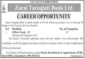 Ztbl Zarai Taraqiati Bank Limited Jobs 2020 Latest Officer Grade Ii Apply Online