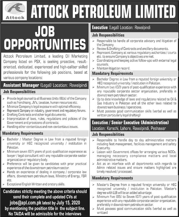 Attock Petroleum Limited Jobs July 2020 Latest Admin Executives & Assistant Manager
