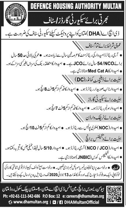 Defence Housing Authority Dha Multan Jobs 2020 Latest