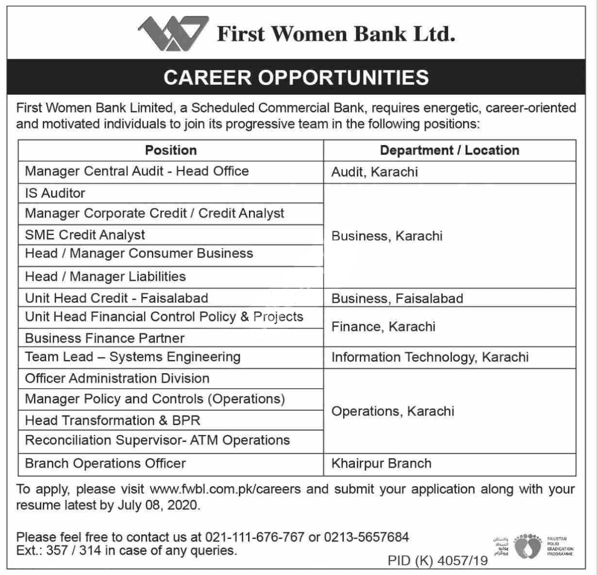 First Women Bank Limited Fwbl Jobs 2020 Latest
