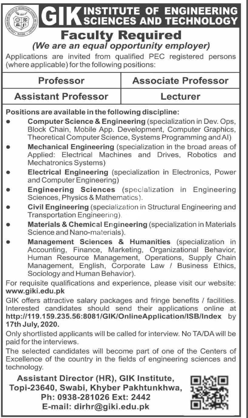 Gik Institute Of Engineering Sciences & Technology Jobs 2020 Latest