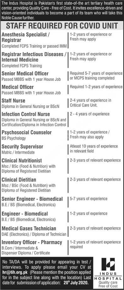 Indus Hospital Karachi Jobs 2020 Latest Medical Officers, Nurses & Others