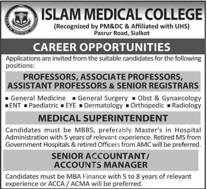 Islam Medical College Sialkot Jobs 2020 2020 Latest