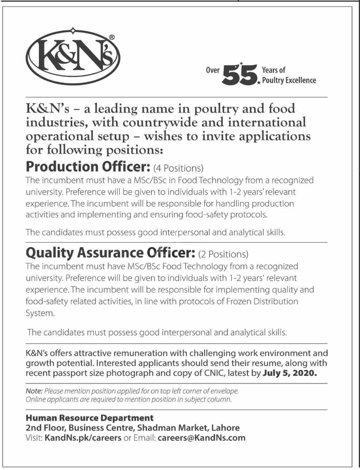 K&ns Karachi Jobs 2020 For Production Officer & Qa Officer