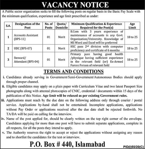P.o Box No.440 Islamabad Jobs 2020 Latest Accounts Assistant, Clerk & Attendant