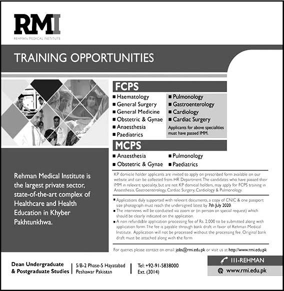 Rmi Rehman Medical Institute Peshawar Mcps Fcps Training 2020 Latest