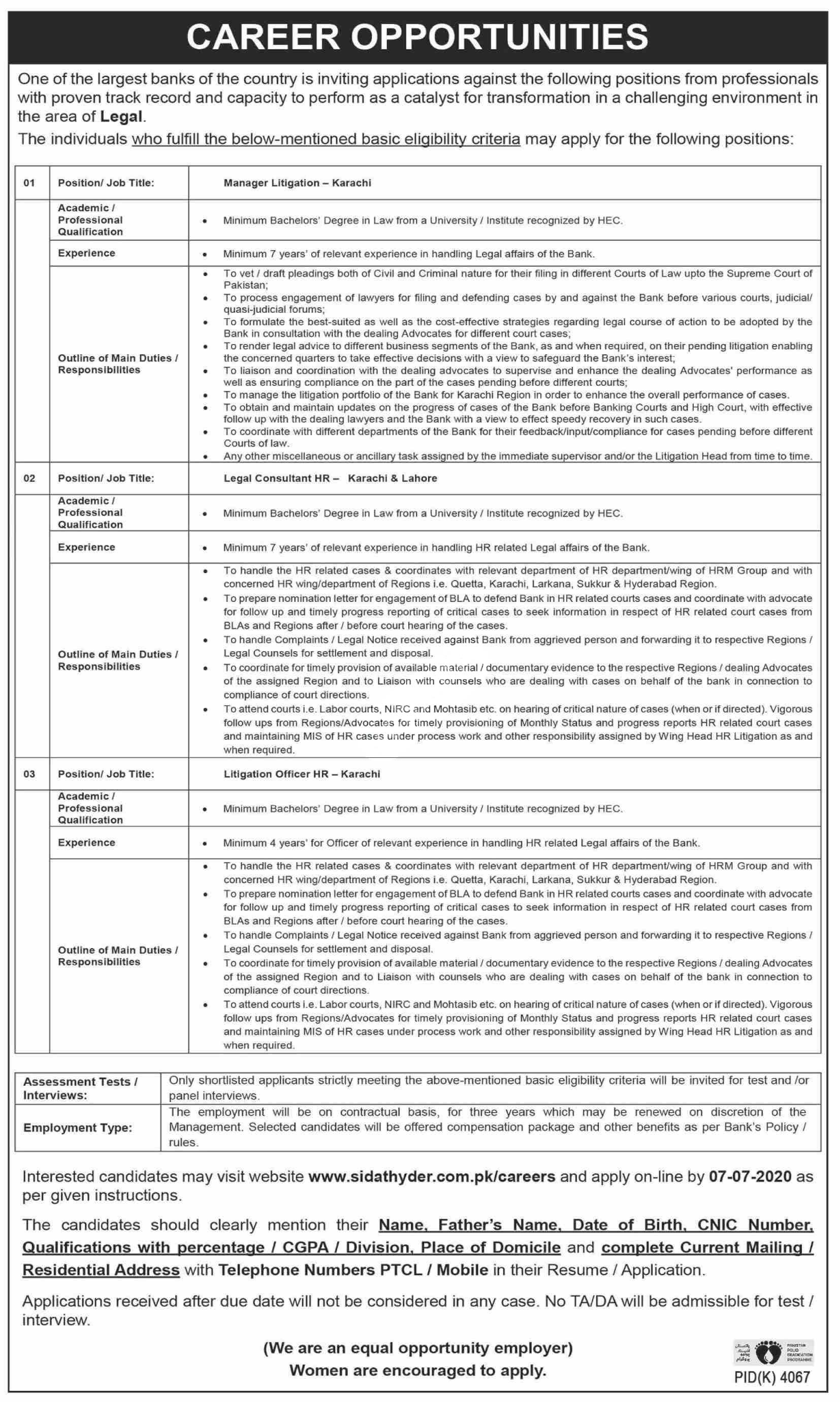 Sidat Hyder Morshed Associates Karachi Jobs 2020 Manager Litigation & Legal Consultant Hr Latest