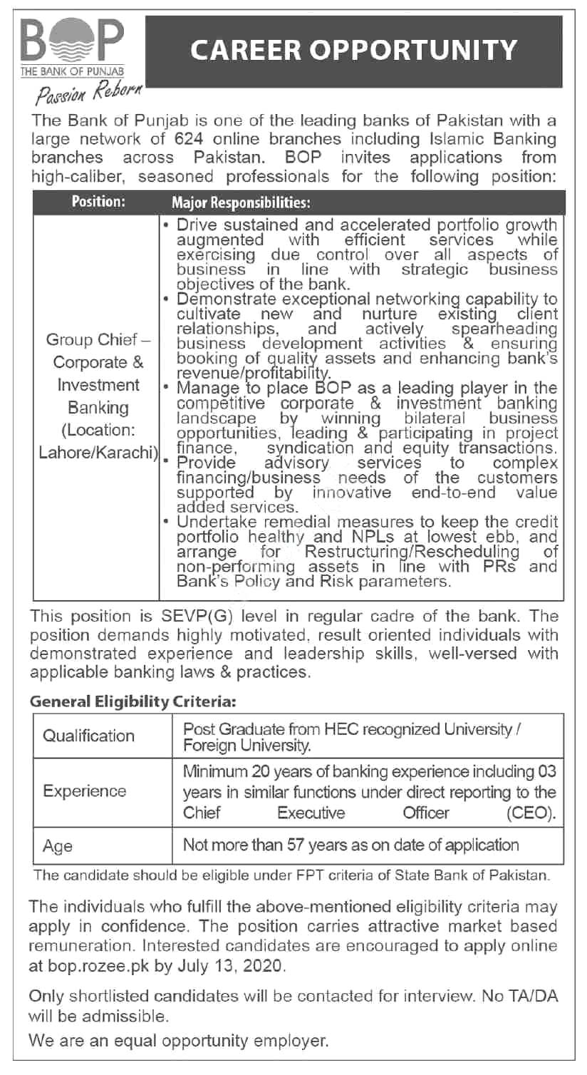 The Bank Of Punjab Bop Jobs 2020 Latest