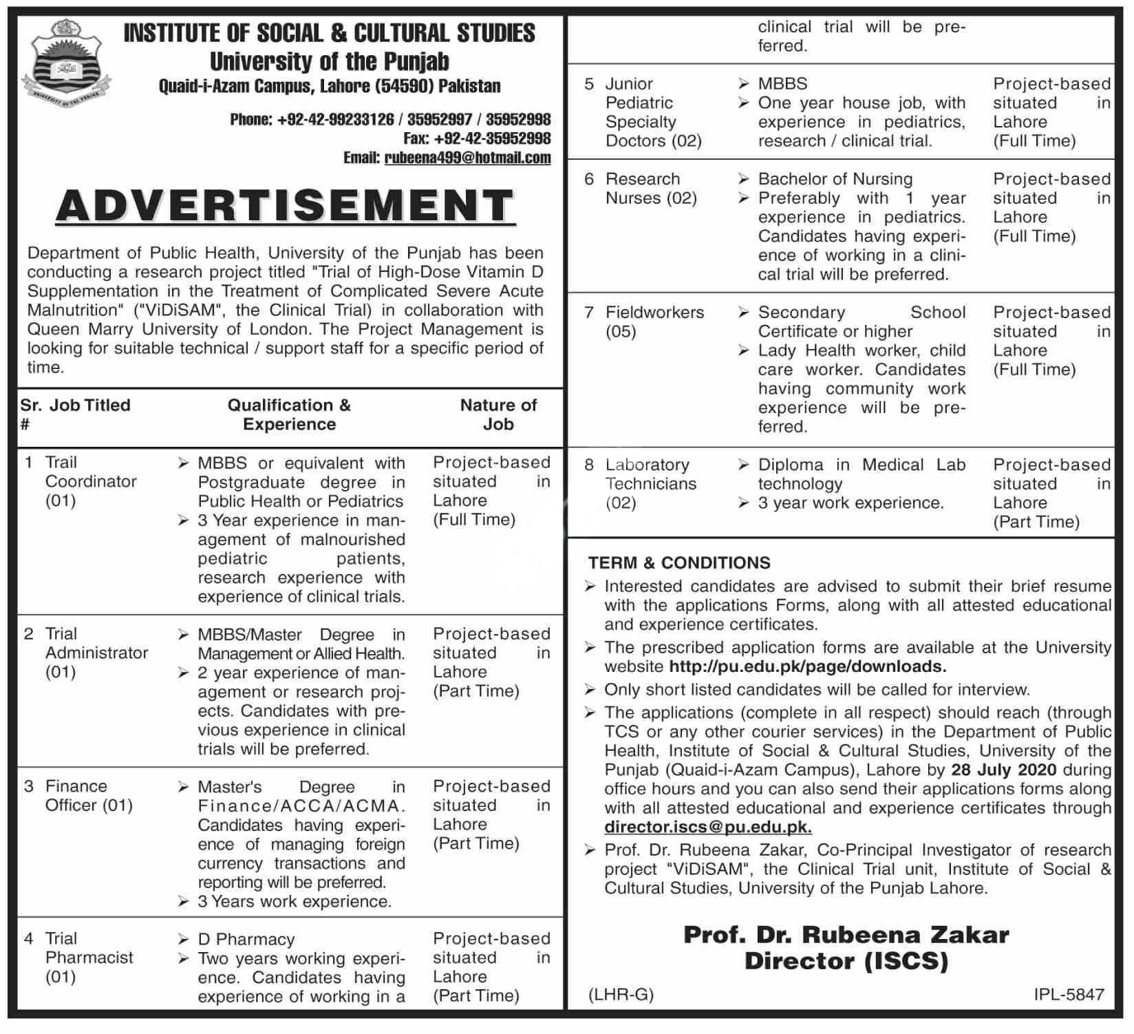 University Of The Punjab Lahore Jobs 2020 Institute Of Social Cultural Studies
