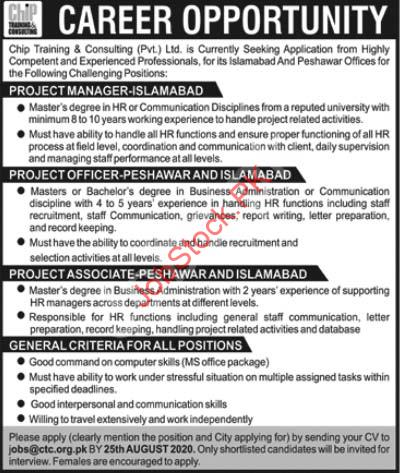 Chip Training & Consulting Ctc Islamabad Jobs 2020 Latest