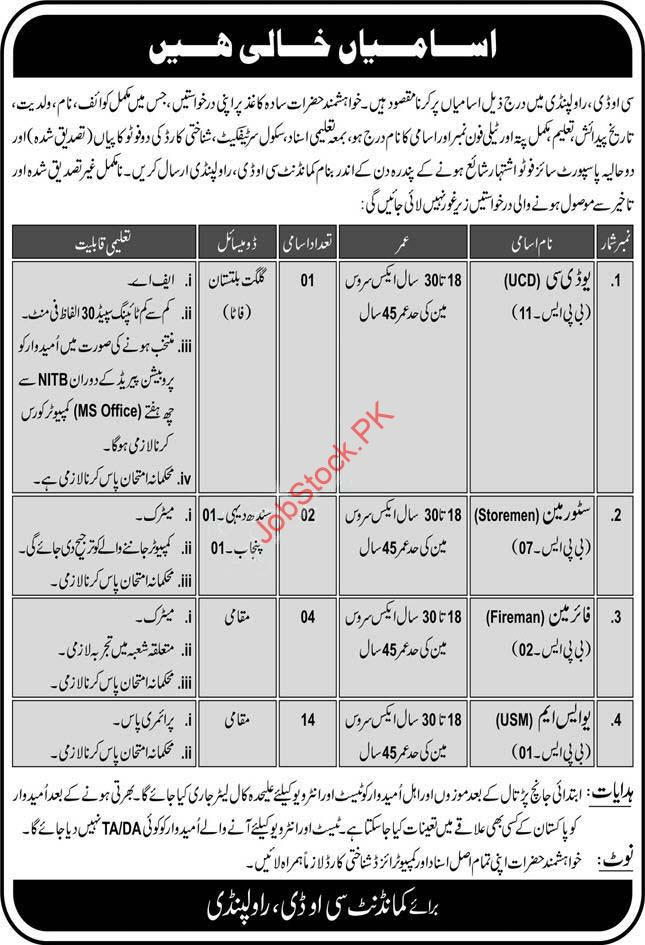 Cod Central Ordnance Depot Rawalpindi Jobs In Pak Army 2020