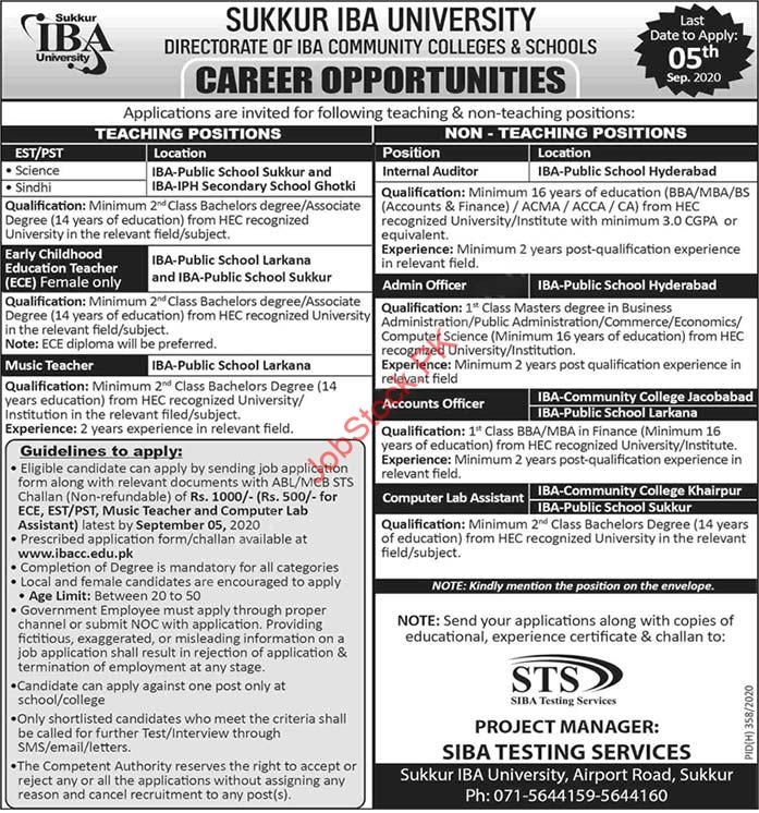 Directorate Of Iba Community Colleges And Schools Jobs 2020 Latest